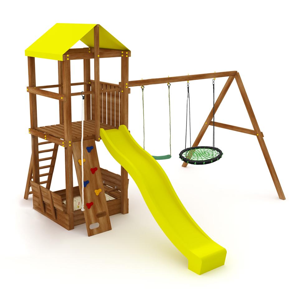 Спортивно-игровой комплекс Kampfer Cool Castle (№2 Ореховый горка желтая и зеленое гнездо и качели гибкие зеленые)